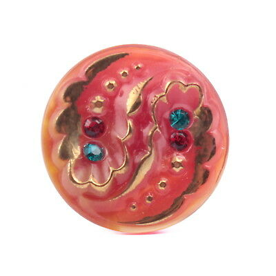 Vintage Czech glass button 27mm gold gilt rhinestone red floral