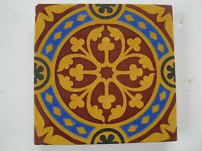 "ANTIQUE VICTORIAN MINTON 6"" SQUARE ENCAUSTIC FLOOR TILE - c1835-45 PUGIN?"