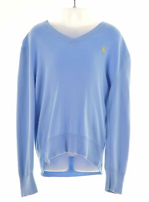 POLO RALPH LAUREN Boys V-Neck Jumper Sweater 7-8 Years Small Blue Cotton  MV01