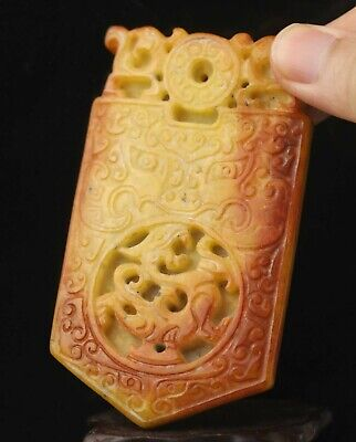 Chinese old natural jade hand-carved dragon pendant 3.7 inch