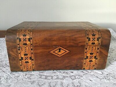 "Victorian Tunbridge ware walnut large sewing box with lift out tray - 11.5"" wide"