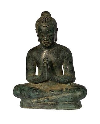 Antique Khmer Style Seated Bronze Jayavarman VII Statue - 18cm/7""