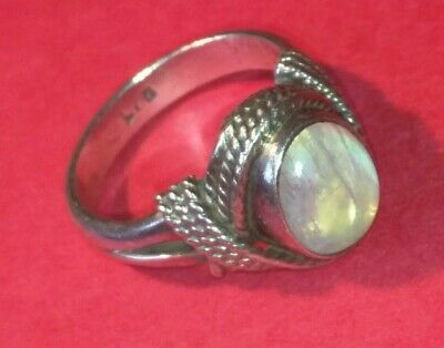 Solid Sterling Silver ring with moonstone size 6 1/2