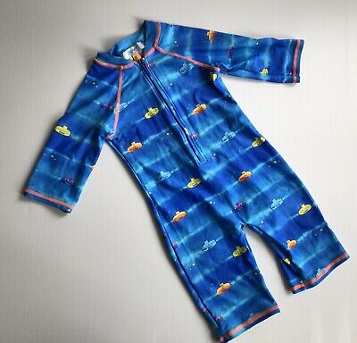 BAKER By Ted Baker Kids Blue Submarine Pattern One Piece Swim Suit - Age 2-3