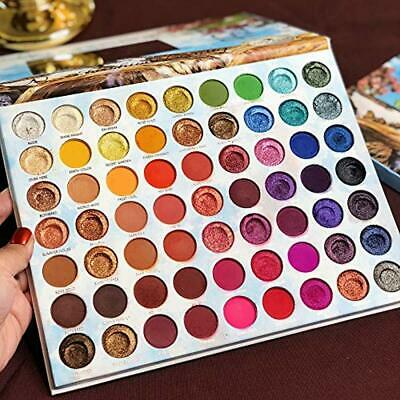 Pro 63 Colors Eyeshadow Palette Highly Pigmented Nudes Smoky Glitter Shimmer Mat