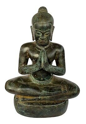Antique Khmer Style Seated Bronze Jayavarman VII Statue - 32cm/13""