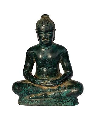Antique Khmer Style Bronze Jayavarman VII Meditation Statue - 19cm/8""