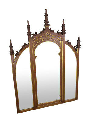Lovely Antique French Gothic Mirror, Circa 1900'S, Tall Spires, Walnut Frame