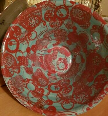 Vintage South American Hand Made Art Pottery Decorative Bowl Turquoise & Red
