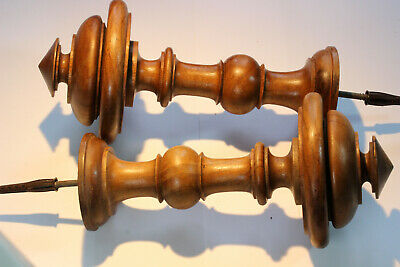 Pair Antique French Turned Fruitwood Curtain Hold-Backs