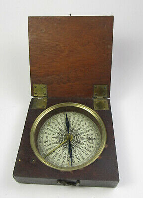 C19th. Wood Cased POCKET COMPASS ( Very good example )