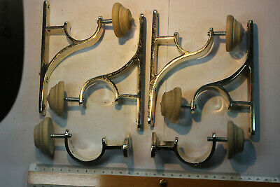 Set of 6 Small Vintage Silver Curtain Pole Brackets (for a 35mm diameter pole)