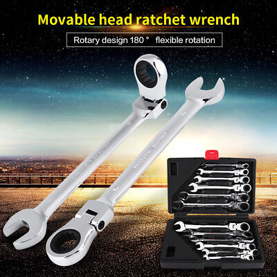 12pc 8-19mm Fixed/Flexible Head Ratcheting Wrench Combination Spanner Tool Set