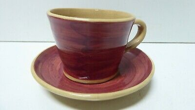 VINTAGE AUSTRALIAN POTTERY HAND PAINTED CUP AND SAUCER 1950s DECO SIGNED KD