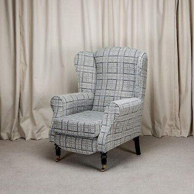 High Wing Back Fireside Chair Grey Check Fabric Armchair + Front Castor UK