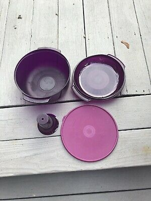 TUPPERWARE 4 Pce Steam N Serve Purple Stack Cooker Microwave Steamer