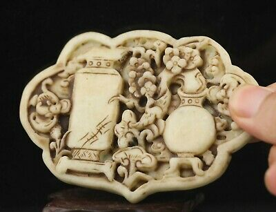 Chinese old natural jade hand-carved flower pendant 3.6 inch