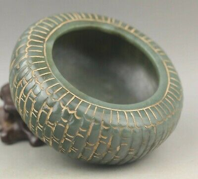 Chinese old natural hetian jade hand-carved statue  flower brush washer 3.7 inch