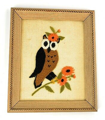VINTAGE OWL Crewel Embroidery Stitchery FINISHED & FRAMED BEAUTIFUL Wall Art