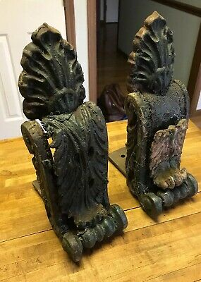 "ANTIQUE ARCHITECTURAL SALVAGE CAST IRON CORBEL Pair (12"") Original Paint Chipped"