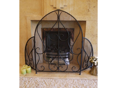 Vintage Antique Iron Ornate  Arched Mesh Fire Guard Screen Surround Black 2721