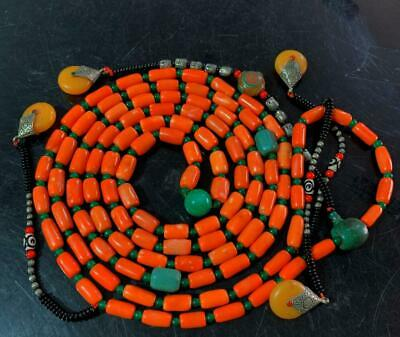 "54.33""Exquisite Chinese Coral Handmade 108 court beads Necklace"
