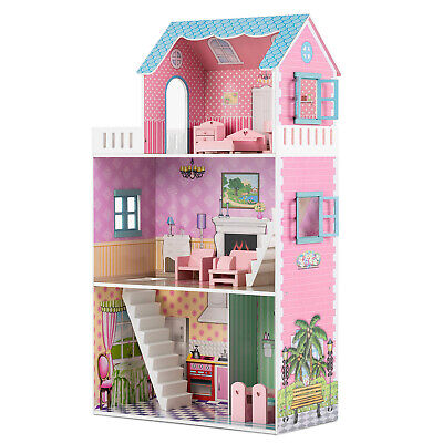 "42"" Large Children Wooden Dollhouse Fits Barbie Mansion w/ 9 PCS Furniture Pink"