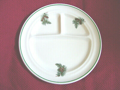 WALLACE CHINA PLATE DIVIDED COMPARTMENT PINECONES NEEDLES Restaurant Ware USA