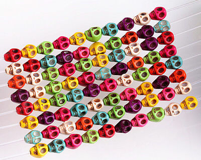 50 Pcs Mixed Color Turquoise Skull Bead Spacer Loose Beads Charms Findings 8mm