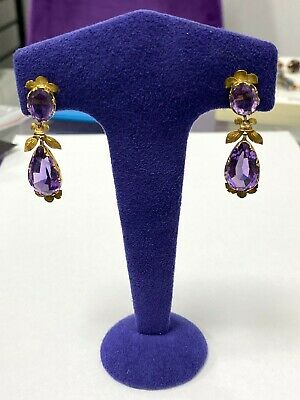 old vintage 18k gold antique earrings with amethysts