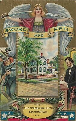 Postcard - Abraham Lincoln - Home in Springfield - Embossed - International Art