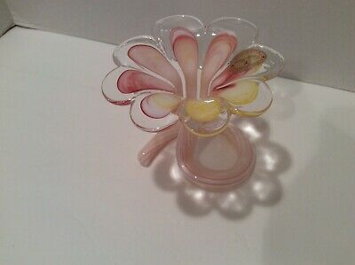 Crystal Clear Murano Glass Pink Flower Bud Vase With Swirled Glass Base - Italy