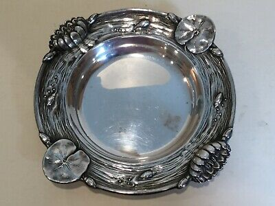 "Reed & Barton Art Nouveau Sterling Silver Flower Ornate Bon Bon Plate 6"",marked"