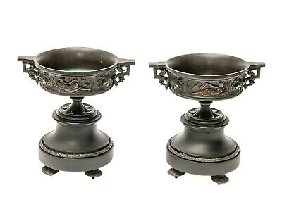 Pair Antique French Bronze & Black Stone Classical Urns with Reclining Figures