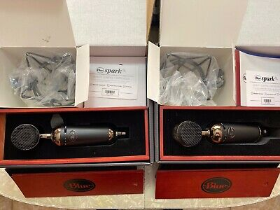 TWO Blue Blackout Spark SL XLR Condenser Microphones