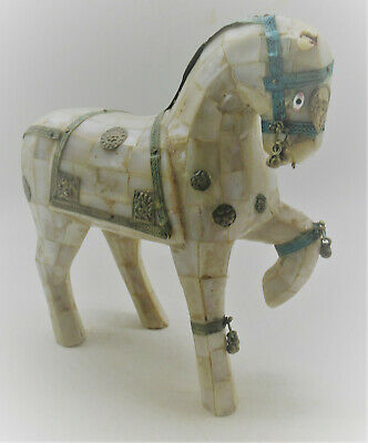 Beautiful Antique Near Eastern Shell And Pearl Fragment Horse Statuette