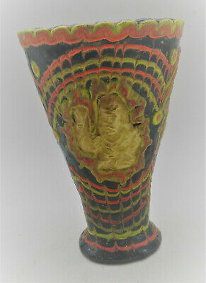 Circa 500Bce Ancient Phoenician Glass Mosiac Chalice With Gold Gilt Plate