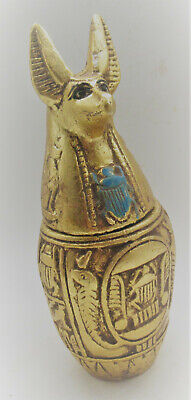 Beautiful Old Antique Egyptian Gold Gilded Canopic Jar With Anubis Head