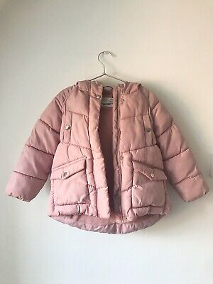Girls Zara Puffer Quilted Hooded Coat/jacket.   Fleeced Lined.  Age 6
