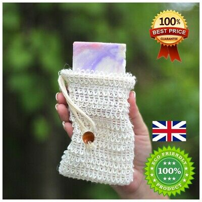 Soap Saver Mesh Bag, Natural Sisal Exfoliating Foaming Pouch, Eco Zero Waste UK