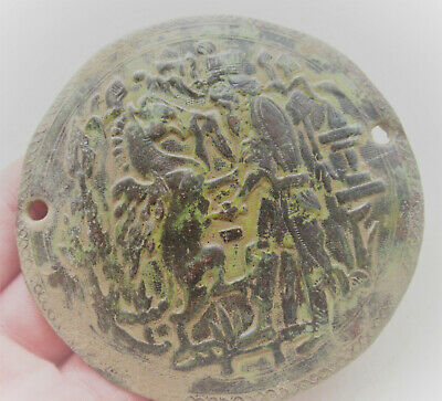 Superb Ancient Byzantine Bronze Icon Depiction Worshipper And Horse