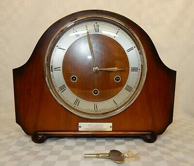 Art Deco Alexander Clark Co Ltd Mahogany Mantel Clock Smiths Westminster Chime