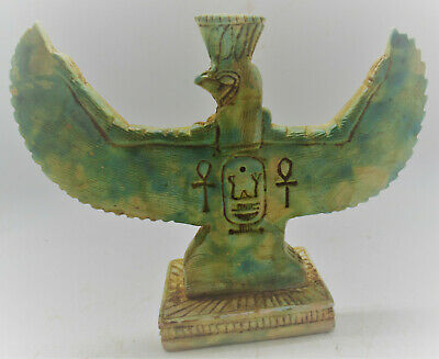 Superb Antique Egyptian Glazed Stone Statue Winged Horus Very Beautiful