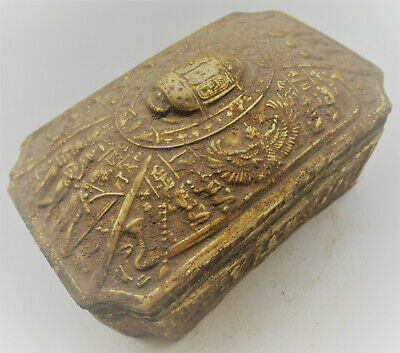 Scarce Ancient Egyptian Gold Gilded Stone Sarcophagus Amazing Detail 500Bce