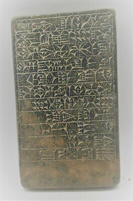 Circa 3000Bc Ancient Near Eastern Stone Tablet With Etched Early Form Of Writing