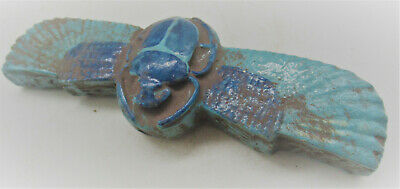 Ancient Egyptian Glazed Faience Winged Scarab Circa 600-300Bce Very Nice