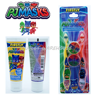 PJ Masks Kids Childrens Toothpaste 75ml& Manual Toothbrush Twin Pack Gift Travel