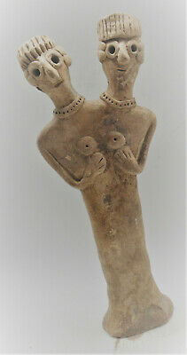 Circa 1180-700Bce Ancient Syro-Hittite Two Headed Terracotta Fertility Idol