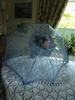 Vintage Umbrella Grey Lace Perfect For Steampunk/Victorian