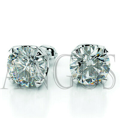 3 Ct Round Diamond Earrings Studs Solid 14K White Gold Basket Screw Back